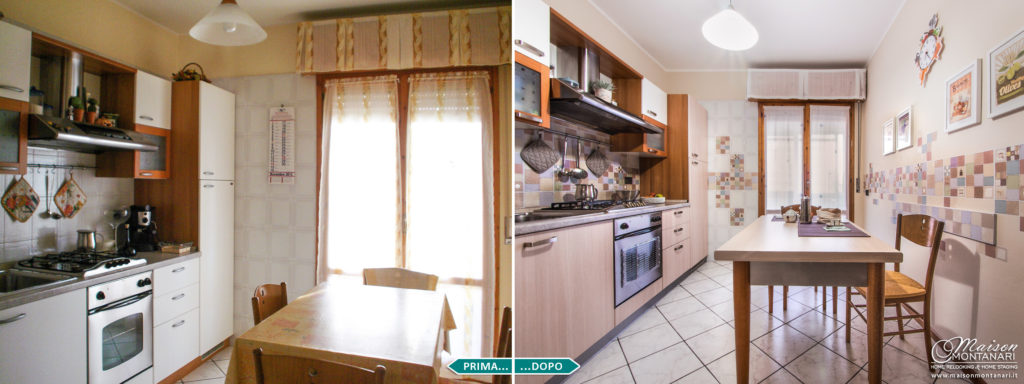 Relooking cucina bianca con pellicole adesive prima e dopo